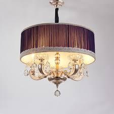 Drum Pendant Light Fixture Modern Drum Pendant Lamp European Simple Crystal Fabric Hanging