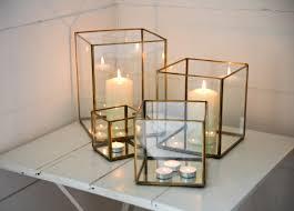 medium antique brass and glass hurricane candle holder lantern