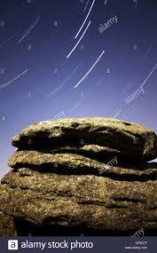 polaris star polaris star trail over moonlit combestone tor on dartmoor stock