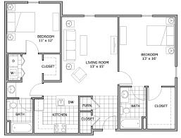 Floor Plan For Two Bedroom Apartment Wonderful 2 Bedroom Apartment Floor Plans 14 House Plan With 2