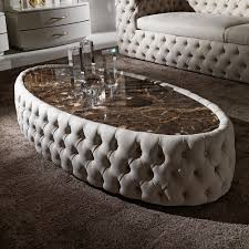 oval coffee table modern modern button upholstered nubuck leather oval coffee table