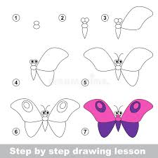 drawing tutorial how to draw a butterfly stock vector
