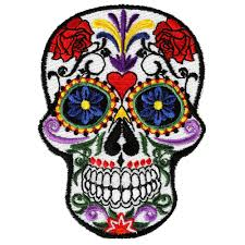 embroidered small sugar skull flowers iron on sew on patch