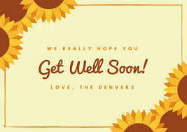 get well soon cards beige sunflower get well soon card templates by canva