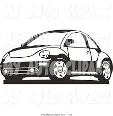 volkswagen beetle clipart clip art of a black and white slug bug car driving left by david