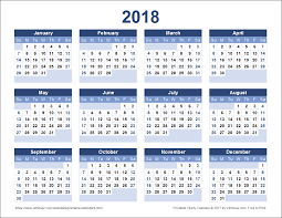 Kalender 2018 Free A Free Printable 2018 Yearly Calendar From Vertex42