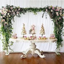 dessert table backdrop omg candy buffet in weiß mit blumendeko backdrops and ceilings