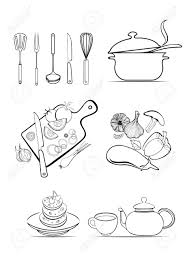 kitchen utensils and food ingredients vector design set royalty