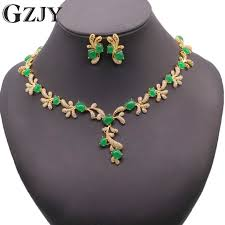 green stone necklace set images Gzjy beautiful party jewelry set pure gold color green stone aaa jpg