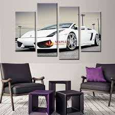 Wall Art Paintings For Living Room 2017 4 Panel Canvas Wall Pictures White Sports Car Wall Art