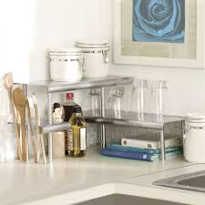 marimac deluxe two tier kitchen counter corner shelves in satin