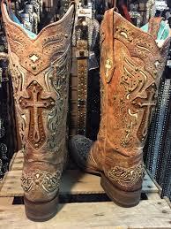 corral ladies cognac bone inlay cross u0026 studs square toe boot