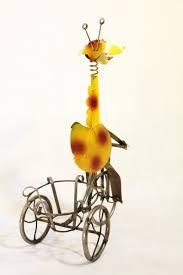27 small giraffe bike pot holder plant container yard decor