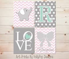 Pink Elephant Nursery Decor Nursery Pink Gray Nursery Decor Baby Wall