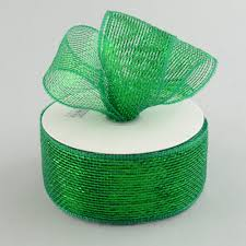 emerald green ribbon 2 5 poly deco mesh ribbon metallic emerald green rs200406