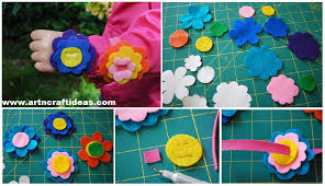 flower bracelet diy images Diy no sew felt flower bracelets art craft ideas jpg