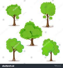 set cartoon trees handdrawn your design stock vector 567952438