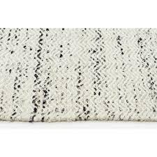 White Rug Vantaa White With Black Chevron Wool U0026 Viscose Rug
