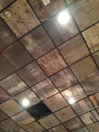 Ideas For Drop Ceilings In Basements Replace Boring Ceiling Tiles With Rusty Corrugated Metal Nice