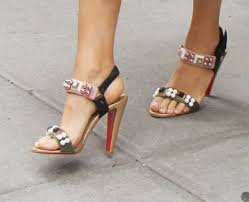 blake lively wears colorful bubble beaded christian louboutin