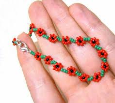 flower beaded bracelet images Poppy friendship bracelet beaded poppy bracelet seed bead jpg