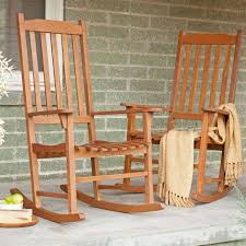 Indoor Patio Furniture by Set Of 2 Indoor Outdoor Patio Porch Natural Slat Rocking Chairs