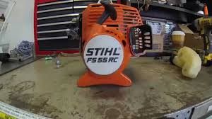 stihl fs55 rc clutch drum clutch and flywheel removal youtube
