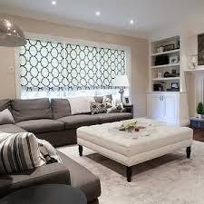 Colored Ottoman Family Room Light Walls W White Moldings Gray Colored Area