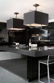 square island kitchen glamorous black modern kitchen square pendant lights over gloss