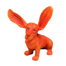 surprised basset hound in orange by out there interiors