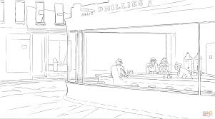 nighthawks by edward hopper coloring page free printable