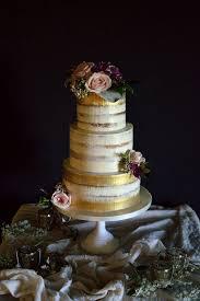 gold brushed semi wedding cake cakes pinterest