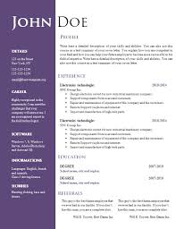 Word Resume Templates 2010 Free Resume Templates For Word 2007 Resume Template And