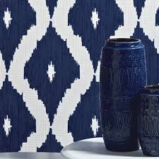 kelly u0027s ikat white and prussian blue wallpaper graham u0026 brown