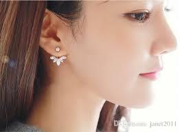 jacket earrings 2018 charm ear jacket earrings fairy flower silver gold
