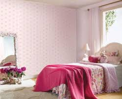 baby pink wallpaper girls bedroom with flower decor pink color