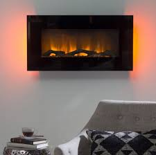 wall electric fireplace mount modern led lights heater flame black