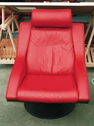 Swedish Leather Recliner Chairs Swedish Design Two Swivel Chairs And One Footstool Red Leather