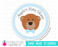 teddy baby shower teddy stickers printable 2 party circle thank you stickes