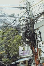 the tangle of electrical wires in hanoi maze vietnam