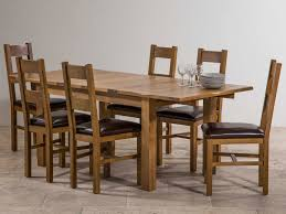 chair exquisite rustic oak 132 198 cm extending dining table and 6