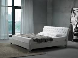 White Leather Platform Bed Modern Leather Bed