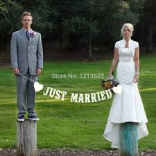 just married vintage paper flag with 3m ribbon romatic