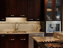 Kitchen Backsplash Mosaic Tile Furniture Chic Mahogany Veneer Espresso Kitchen Cabinets With