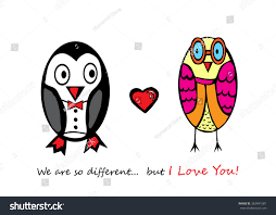 We Are In Love Fall Love Hand Drawing Penguin Owl Stock Vector 363491081
