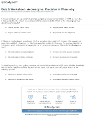 quiz u0026 worksheet accuracy vs precision in chemistry study com