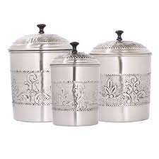 dutch victoria 3 pc embossed kitchen canister set