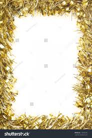 gold tinsel garland forming rectangular stock photo