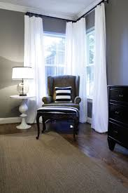 gray walls white curtains love the gray combo with the white and blue and the floors i think