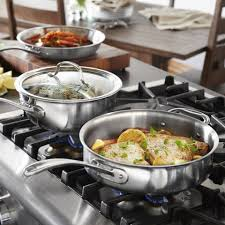 Stainless Steel Kitchen Set by Calphalon Tri Ply Stainless Steel 13 Piece Cookware Set Bed